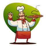 Cartoon cook character. Happy cartoon cook with big pizza in the hand Stock Photography