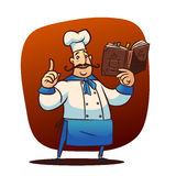 Cartoon cook character. Happy cartoon cook  character with cooking book Royalty Free Stock Photography
