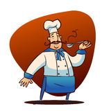 Cartoon cook character. Happy cartoon cook full lenght character with spoon Royalty Free Stock Photography