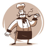 Cartoon cook character. Happy cartoon cook full length character with spoon Royalty Free Stock Photos