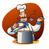 Cartoon cook character. Happy cartoon cook with spoon and saucepan Royalty Free Stock Photo