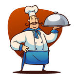 Cartoon cook character. Happy cartoon cook character staying with tray Stock Image