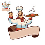 Cartoon cook character with ribbon for title. Happy cartoon cook with big pizza in the hand Royalty Free Stock Photo