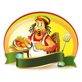 Cartoon cook coconut Stock Images