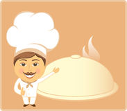 Cartoon cook and dish Stock Image
