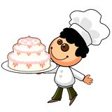 Cartoon cook with holiday cake Royalty Free Stock Photo