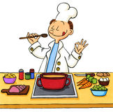 Cartoon of a cook in the kitchen Stock Image