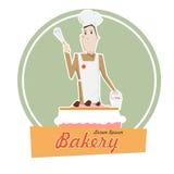 Cartoon cook man and big cake vector illusration. Stock Images