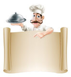 Cartoon Cook Menu Scroll Royalty Free Stock Photo