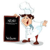 Cartoon cook with menu sign Royalty Free Stock Image