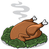 Cartoon cooked turkey on bed of lettuce Stock Images