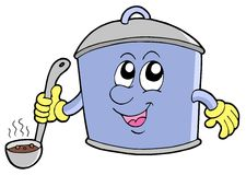 Cartoon cooker pot Royalty Free Stock Image