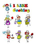 Cartoon cooking icons set, food. & cook kids style design Stock Illustration