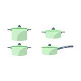Cartoon cooking pan vector illustration. Royalty Free Stock Photo