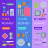 Cartoon Cookware Banner Vecrtical Set. Vector royalty free illustration