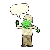 cartoon cool alien with speech bubble Stock Images