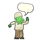 cartoon cool alien with speech bubble Royalty Free Stock Photos