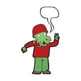 cartoon cool alien with speech bubble Royalty Free Stock Photo