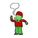 cartoon cool alien with speech bubble Stock Photos