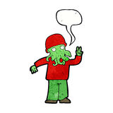 cartoon cool alien with speech bubble Royalty Free Stock Images