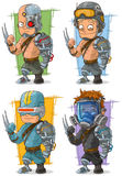 Cartoon cool cyborg soldier character vector set Royalty Free Stock Images