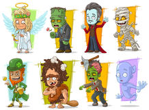 Cartoon cool funny monster characters vector set Stock Photos