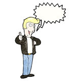 cartoon cool guy with speech bubble Royalty Free Stock Images
