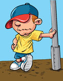 Cartoon cool kid with a baseball cap. Isolated Stock Photography