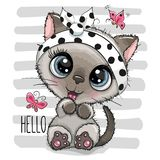 Cartoon Kitten with a butterflies on striped background. Cartoon Cool Kitten with a butterflies on striped background vector illustration