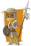 Cartoon cool Persian assassin with spear Royalty Free Stock Image