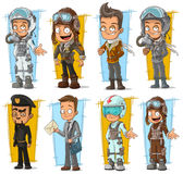 Cartoon cool pilot and postman character vector set. Cartoon cool pilot in helmet and postman character vector set Royalty Free Stock Photography