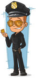 Cartoon cool policeman in black uniform Royalty Free Stock Photos