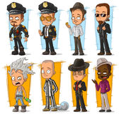 Cartoon cool policeman and gangsters character vector set Stock Photos