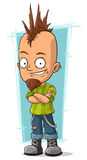 Cartoon cool punk with mohawk hairstyle Stock Image