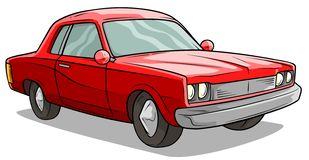Cartoon red american retro muscle car vector icon royalty free illustration