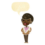 cartoon cool relaxed woman with speech bubble Royalty Free Stock Photography