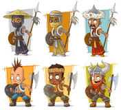 Cartoon cool warriors with shield and spear character vector set Stock Images