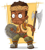 Cartoon cool zulu warrior with axe Stock Images