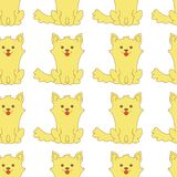 Cartoon Corgis puppy sitting seamless Pattern. Vector illustration royalty free illustration