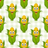 Cartoon Corn Cob Seamless Pattern. A seamless pattern with a cartoon cheerful corn cob character smiling, on a checkered picnic tablecloth background. Useful Stock Image