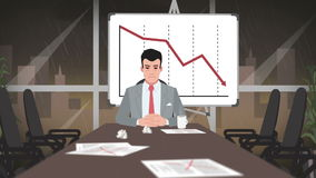 Cartoon Corporate / Businessman in deep crisis stock illustration