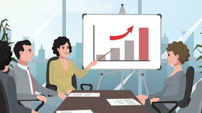Cartoon Corporate / Girl presented a report royalty free illustration