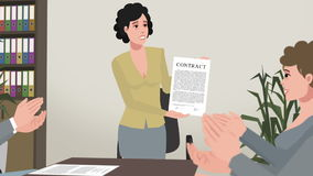 Cartoon Corporate / Girl Shows Successful Contract vector illustration