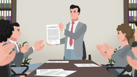 Cartoon Corporate / Man Shows Business Contract