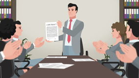 Cartoon Corporate / Man Shows Successful Contract stock illustration