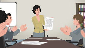 Cartoon Corporate / Woman Shows Business Contract royalty free illustration