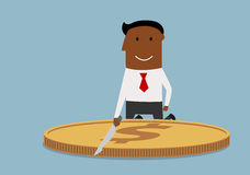 Cartoon corrupt businessman cutting a dollar coin Royalty Free Stock Photos