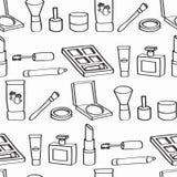 Cartoon Cosmetics Seamless Background Stock Photos