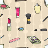 Cartoon Cosmetics Seamless Background Royalty Free Stock Photography
