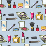 Cartoon Cosmetics Seamless Background Stock Images